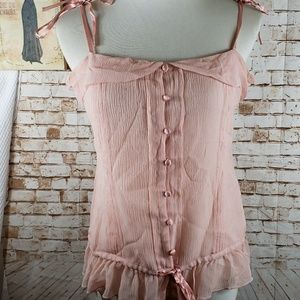Ted Baker London pink silk button down cami top